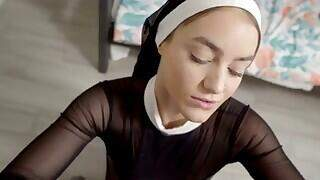 Kenzie Madison has just the costume to get under her preacher dad`s skin: A sexy nun. She`s had an ongoing relationship with her stepbrother, Kyle Mason, so she calls him in to help her zip into the sheer outfit. Kyle is alarmed at Kenzie`s choices since they`re supposed to go do a bible study with their dad, but at the same time he`s totally turned on by the getup. Kenzie tries to cajole Kyle into a quickie, but heis concerned that they`re going to get caught and into trouble. Kenzie is persistent, so she eventually gets her way with brother`s dick in her mouth. She keeps on sucking until their dad calls them in for bible study.Kenzie takes a moment to change back into her normal clothes before going to join Kyle and her stepdad, Chris Valiant, in the living room. She doesn`t quit with teasing Kyle every time her dad is distracted. When Chris goes to take a phone call, Kenzie pounces. She goes back to exploring Kyle`s hardon with her mouth, then lifts her skirt and slides down on his fuck stick. When Chris returns, the two stepsiblings barely have time to make themselves presentable. Retreating to the other side of the sofa, Kenzie waits until her stepdad leaves. Then she slips her hand between her thighs to entice Kyle to come give it to her once again. He gives in, taking his sis on her back and then as she kneels on the couch. Pulling out to cum all over Kenzie`s back, Kyle is just finishing up when Chris rejoins them and catches them enjoying the afterglow.