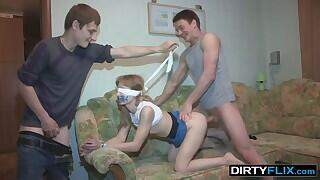 When this guy wants to do something crazy he has his gf blinded and bound and starts slurping her pussy like that. Then comes the horny part when his buddy replaces him and drills this unaware cutie any way he wants. Finally the blindfold comes off and the girl can`t even give her bf a blowjob with duct tape over her mouth, so he just convulses his cock and gives the bitch a popshot together with that other guy who just pounded her.